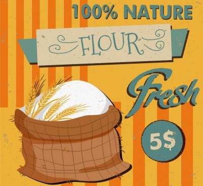 natural flour advertisement sack icon classical design