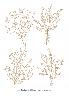 natural flower icons handdrawn sketch classic design