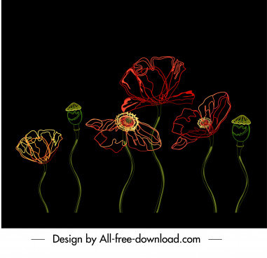 natural flower painting colored dark decor handdrawn sketch