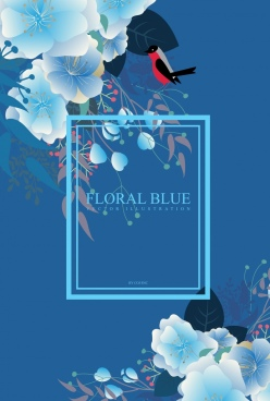 natural flowers background dark blue backdrop bird decoration