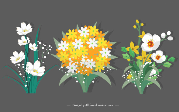 natural flowers icons blooming sketch colorful classic design