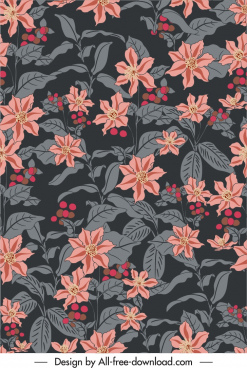 natural flowers pattern dark vintage sketch
