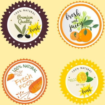 natural food label templates colored serrated design
