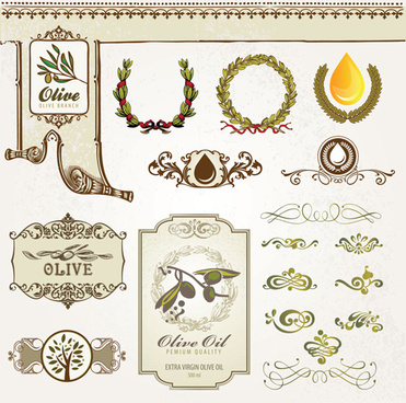 natural food labels and ornament vector