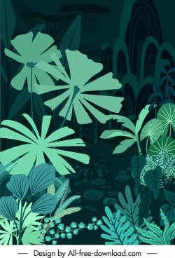 natural forest background dark green design leaves sketch