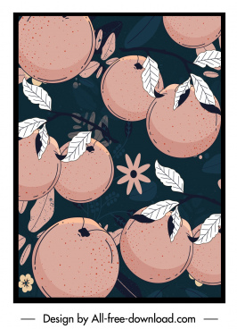 natural fruits background template dark retro design