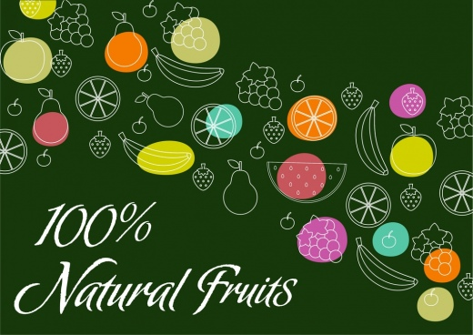 natural fruits banner silhouette style various icons decoration