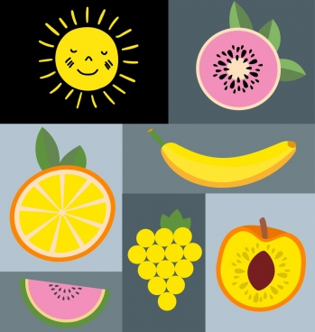 natural fruits icons isolation colored flat design