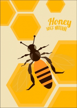 natural honey advertisement bee icon yellow beehive background