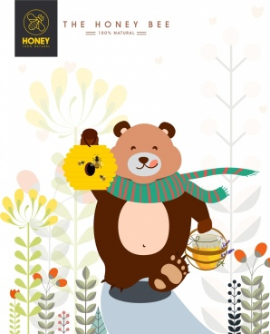 natural honey advertisement cute bear honeycomb icons