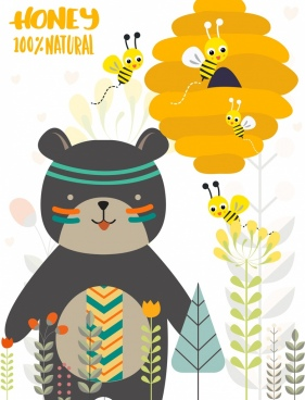 natural honey advertising boho bear bee icons