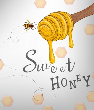 natural honey advertising stick bee icons decor