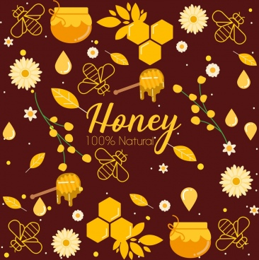 natural honey background flower bees jar icons decor
