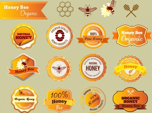 natural honey badges orange design various flat shapes