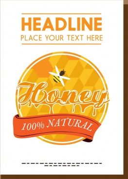 natural honey promotion banner ribbon bee comb decoration