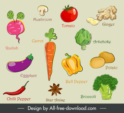 natural ingredients icons colored flat handdrawn symbols