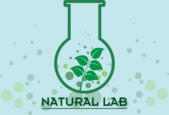 natural lab background green glass bottle leaf design