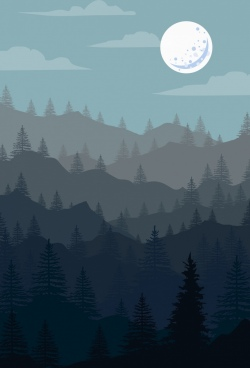 natural landscape drawing mount moonlight icons
