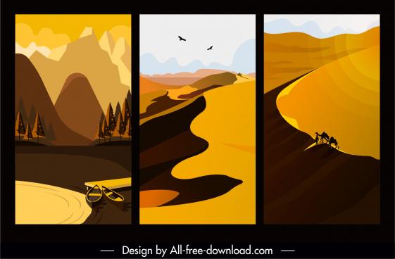 natural landscape paintings dark colored retro design