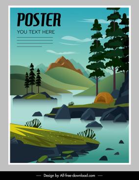 natural landscape poster mountain lake sketch classical design