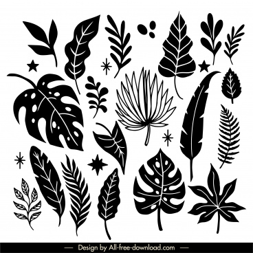 natural leaf icons black white handdrawn classic sketch