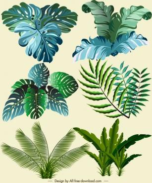natural leaf icons modern green sketch