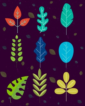 natural leaves background colored icons decor