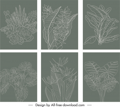 natural leaves background templates retro handdrawn sketch