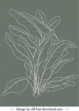 natural leaves painting dark classical handdrawn outline