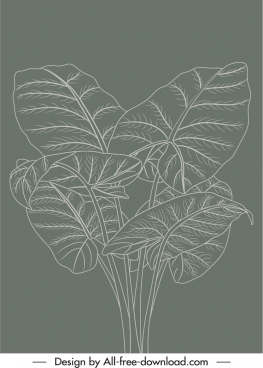 natural leaves painting dark retro handdrawn sketch