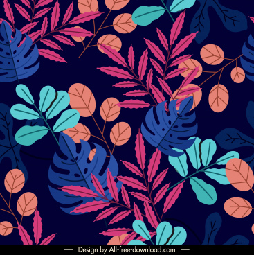 natural leaves pattern template colorful dark classical design