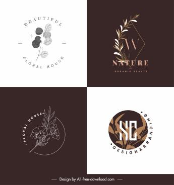 natural logo templates classic design floral leaves decor