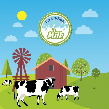 natural milk advertisement cows farmland decoration colorful design