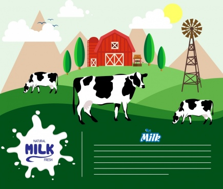 natural milk advertising banner cow farm icons ornament