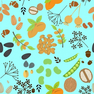 natural nuts background various colorful flat types