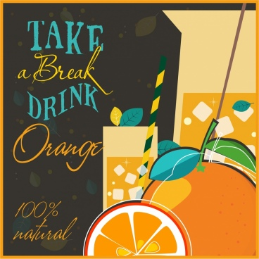 natural orange juice advertising classical calligraphic decor