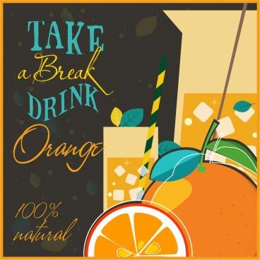 natural orange juice advertising classical calligraphic decor