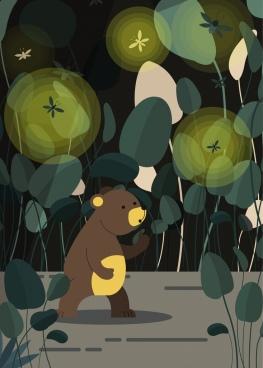 natural painting tiny bear firefly icons cartoon design