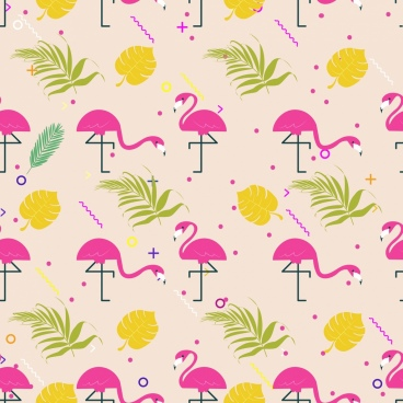 natural pattern leaf bird icons multicolored repeating design