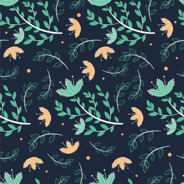 natural pattern leaves icons dark green design