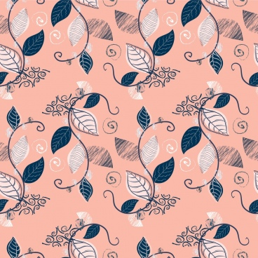 natural pattern leaves icons decoration repeating classical design