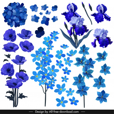 natural petals icons blue violet decor classical design