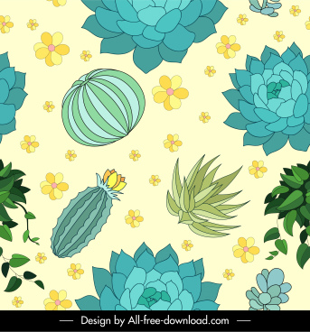 natural plants pattern bright colored handdrawn sketch