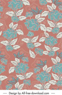 natural plants pattern template flat retro design