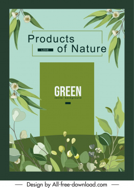 natural product advertising banner green plants sketch