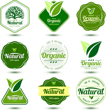 natural product labels design vector