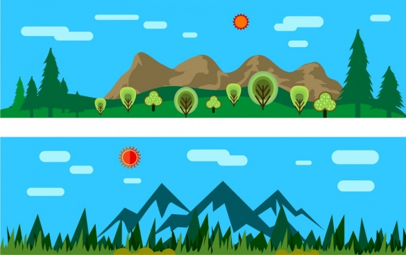 natural scenery background sets colored cartoon style