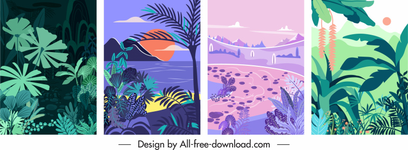 natural scenery background templates colored classical decor