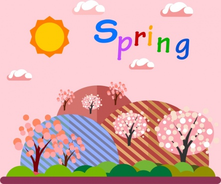 natural spring background colorful cartoon style