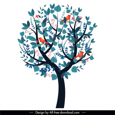natural tree icon colored classic design